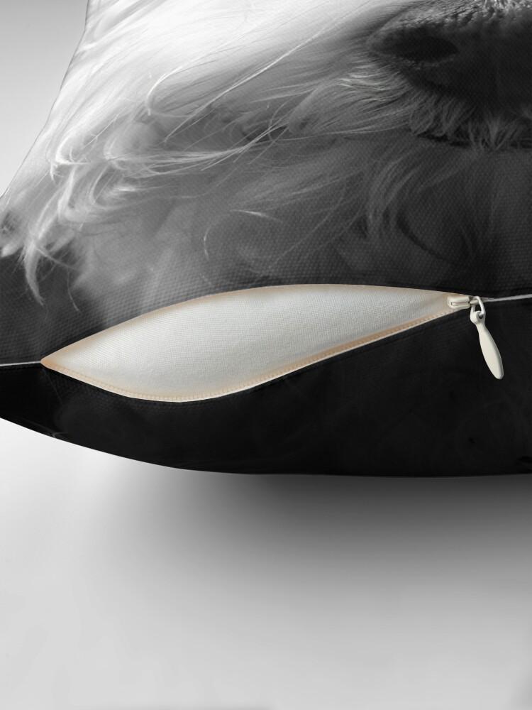 Alternate view of Bichon Frise - Black and White Throw Pillow