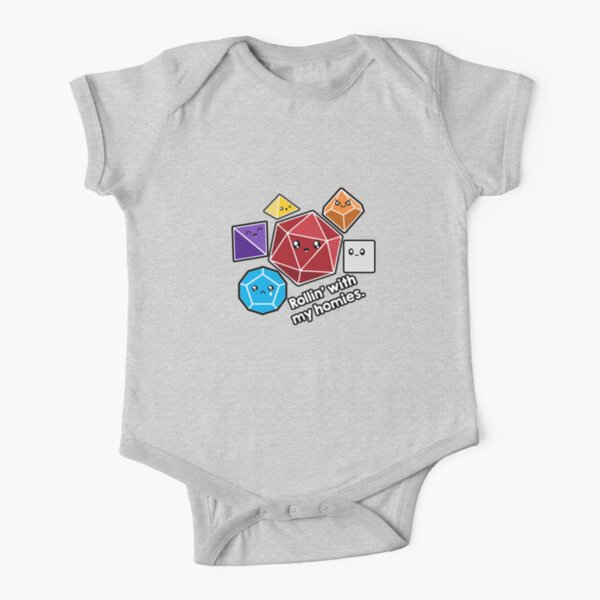 Polyhedral Pals - Rollin With My Homies - D20 Gaming Dice Short Sleeve Baby One-Piece