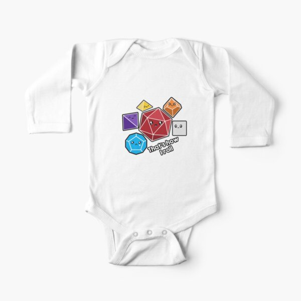 Polyhedral Pals - How I Roll - D20 Gaming Dice Long Sleeve Baby One-Piece