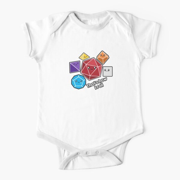 Polyhedral Pals - How I Roll - D20 Gaming Dice Short Sleeve Baby One-Piece