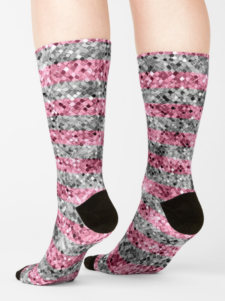 Alternate view of Pink and Silver Glitter Sequin Stripes Socks