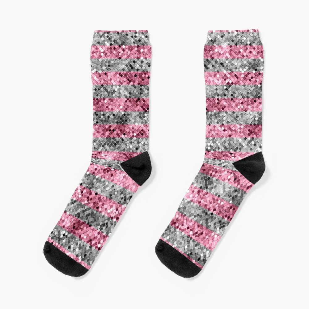 Pink and Silver Glitter Sequin Stripes Socks