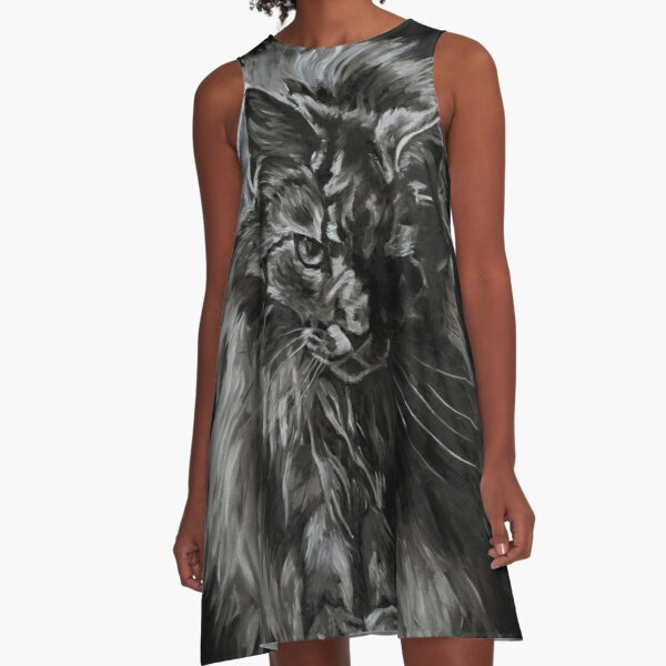 One Big Scary Maine Coon Cat  A-Line Dress