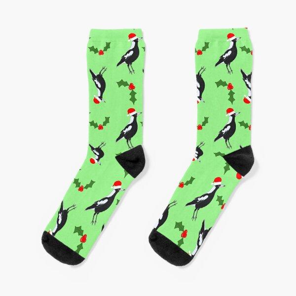 Magpie Christmas Aussie celebration Socks