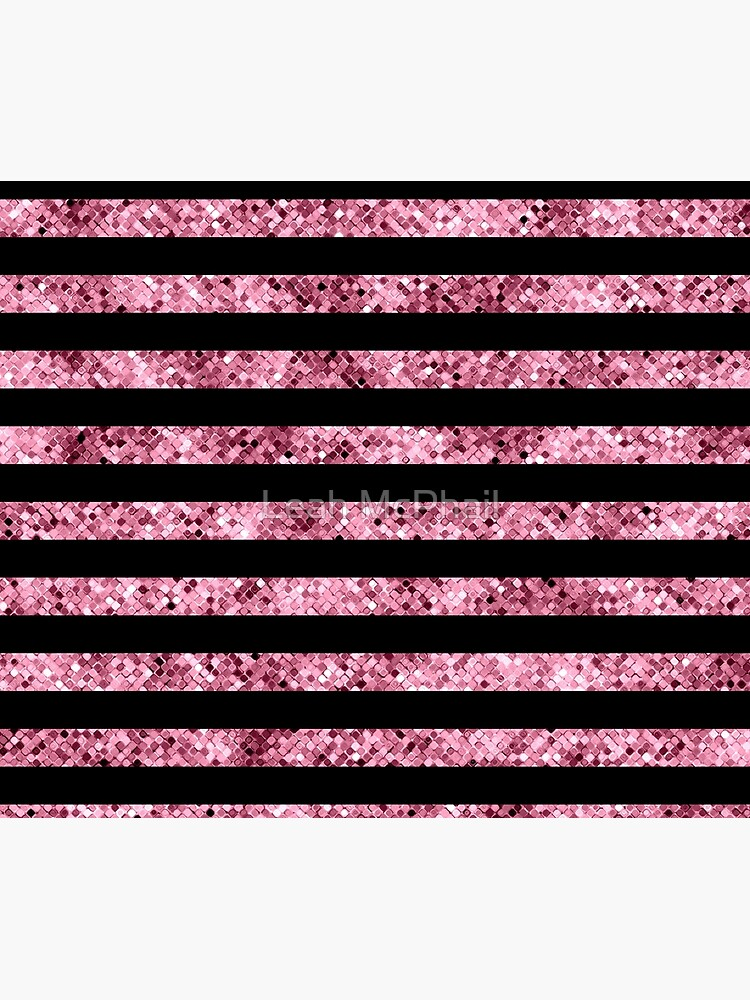 Pink and Black Glitter Sequin Stripes by LeahMcPhail