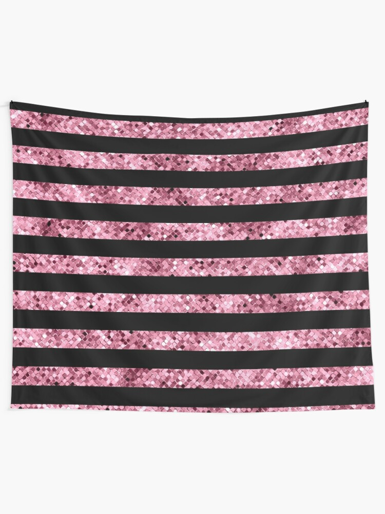Alternate view of Pink and Black Glitter Sequin Stripes Tapestry