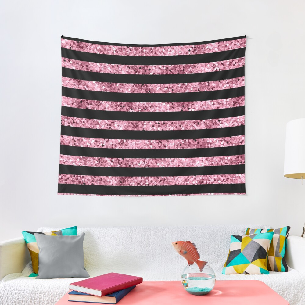 Pink and Black Glitter Sequin Stripes Tapestry