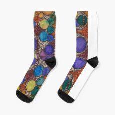 Earth tone hand painted Fibonacci pattern Socks