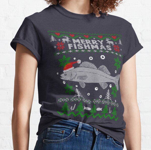 Merry Fishmas Zander Walleye Fishing Christmas Gift for Fisherman Classic T-Shirt