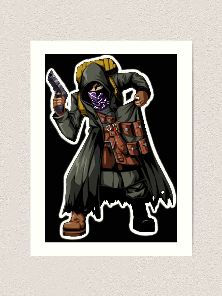 Resident Evil 4 Merchant No Quotes White Outline Brazz Art Print By Lilflipjimmy Redbubble