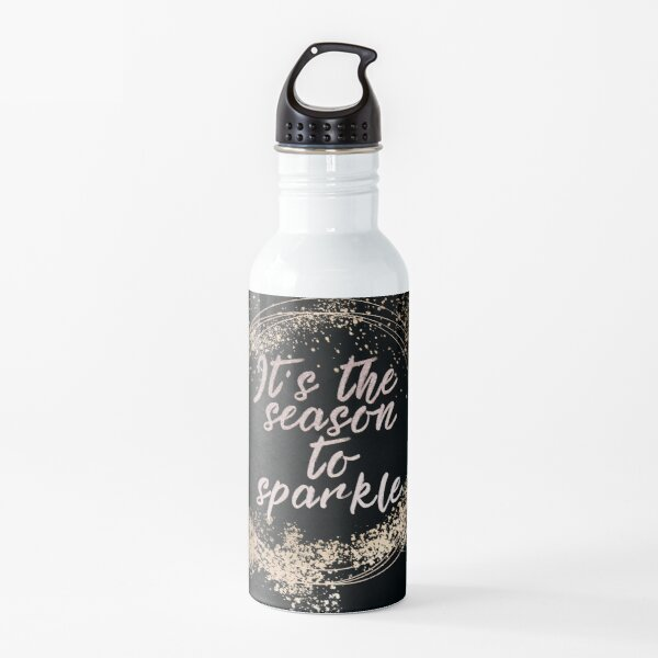 Black Sparkly Christmas Decor Water Bottle