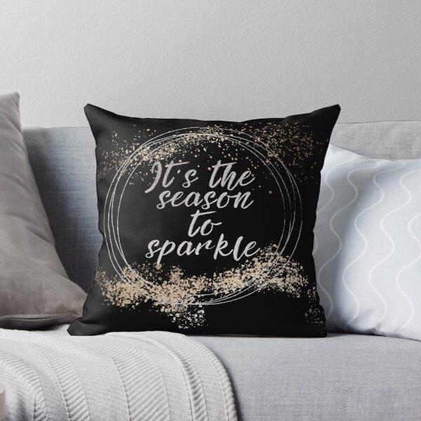 Black Sparkly Christmas Decor Throw Pillow