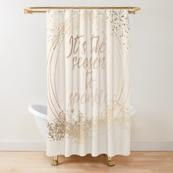 Gold sparkly Christmas decor Shower Curtain