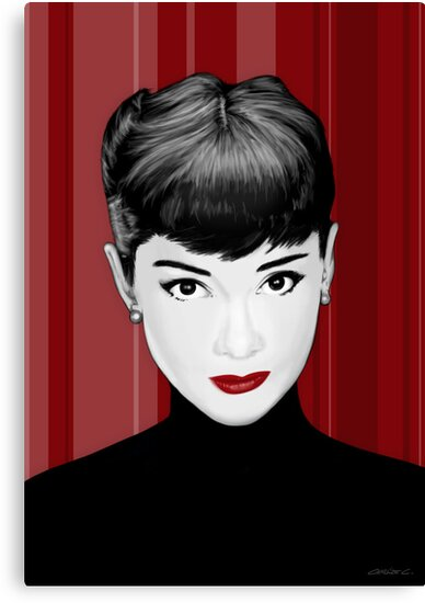 Audrey Hepburn on red background by Charlize Cape