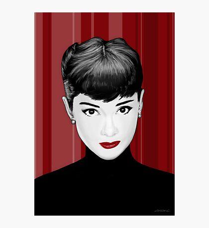 Audrey Hepburn on red background Photographic Print