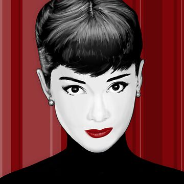 Audrey Hepburn on red background by charlizeart