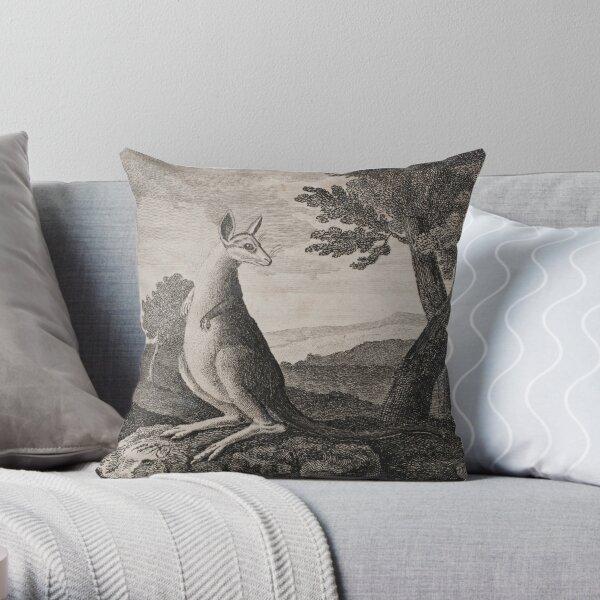 Vintage kangaroo print. (1790 - 1800)  Throw Pillow