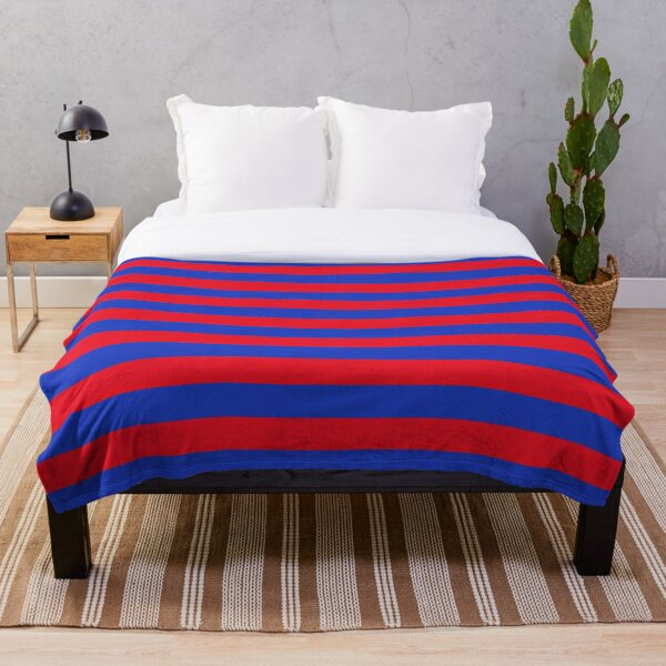 Blue and Red Horizontal Stripes  Throw Blanket