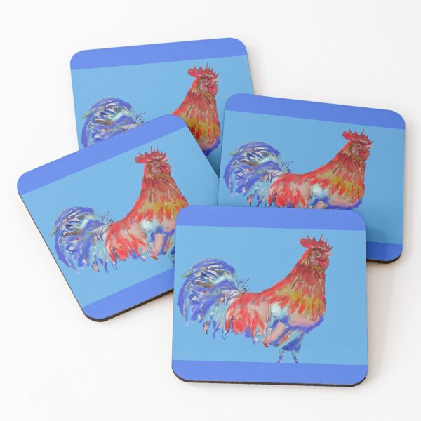 Rooster Watercolor Painting Blue Coasters (Set of 4)