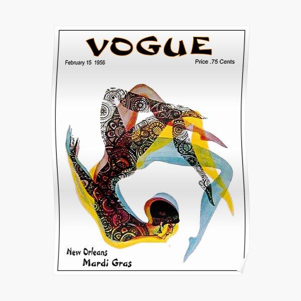 VOGUE : Vintage 1956 New Orleans Mardi Gras Magazine Advertising Print Poster