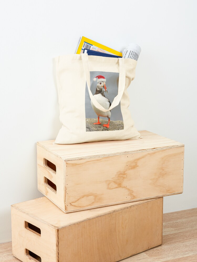 Alternate view of Holiday Puffin Tote Bag