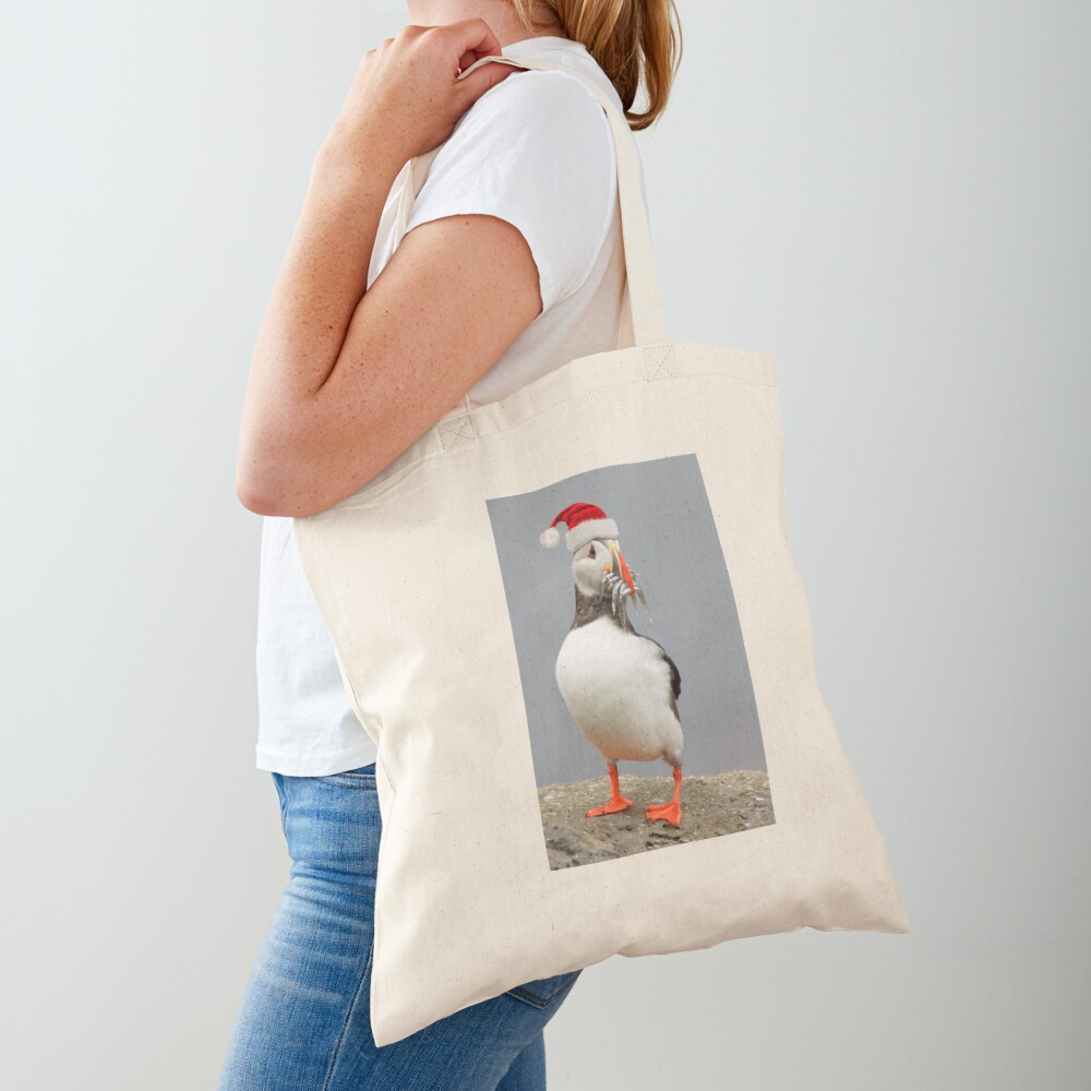 Holiday Puffin Tote Bag