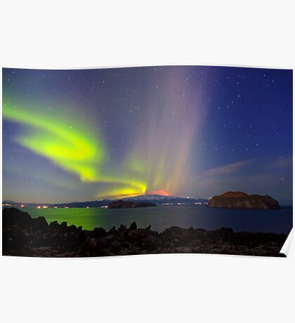 Volcano eruption Eyjafjallajokull and the northern lights Poster