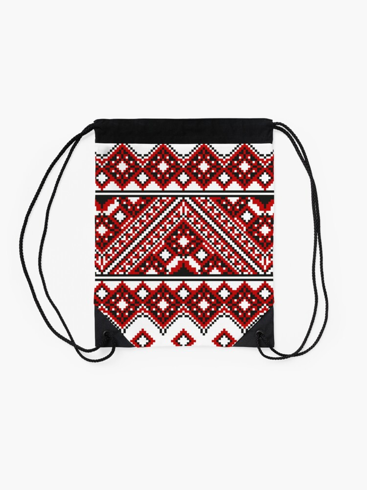 Alternate view of #Ukrainian #Embroidery, #CrossStitch, #Pattern Drawstring Bag