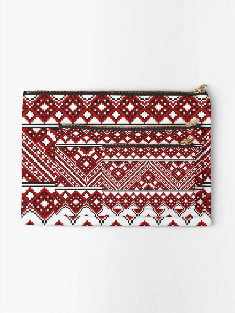 Alternate view of #Ukrainian #Embroidery, #CrossStitch, #Pattern Zipper Pouch