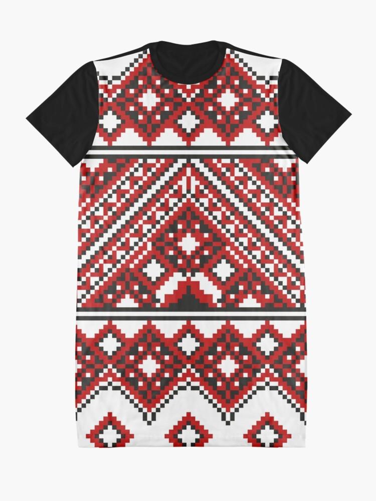 Alternate view of #Ukrainian #Embroidery, #CrossStitch, #Pattern Graphic T-Shirt Dress