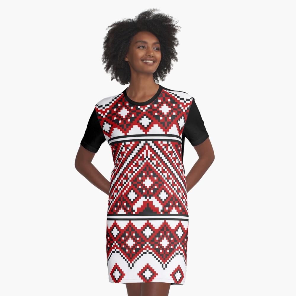 #Ukrainian #Embroidery, #CrossStitch, #Pattern Graphic T-Shirt Dress