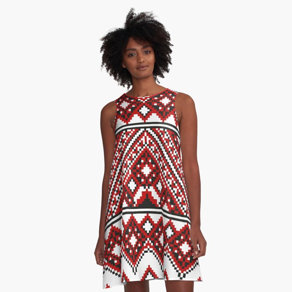 #Ukrainian #Embroidery, #CrossStitch, #Pattern A-Line Dress
