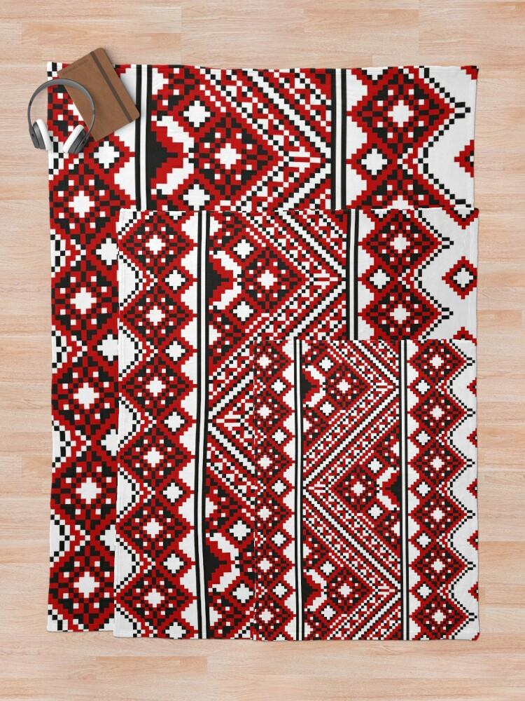 Alternate view of #Ukrainian #Embroidery, #CrossStitch, #Pattern Throw Blanket