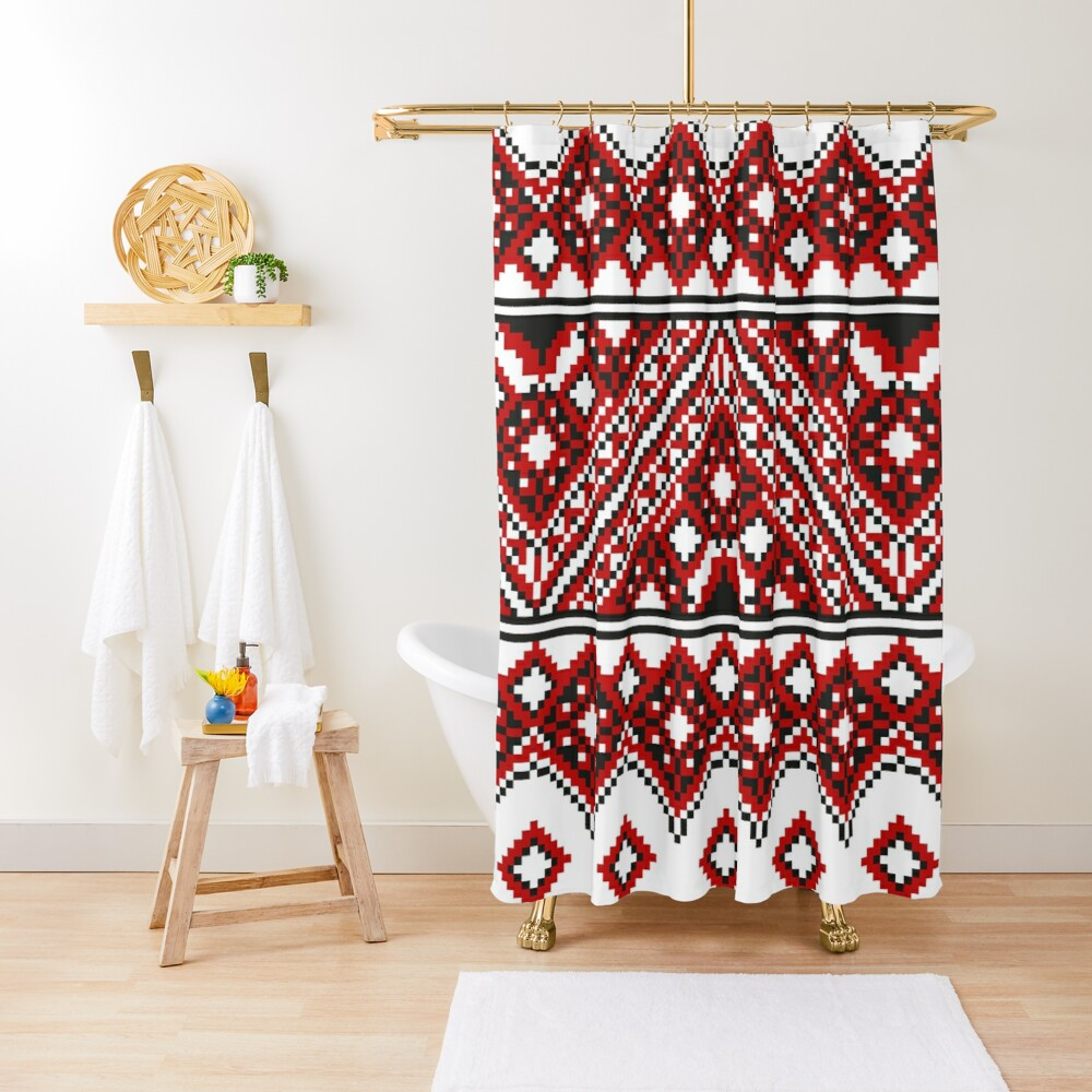 #Ukrainian #Embroidery, #CrossStitch, #Pattern Shower Curtain