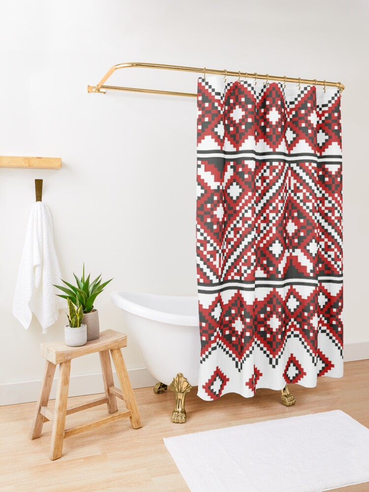 Alternate view of #Ukrainian #Embroidery, #CrossStitch, #Pattern Shower Curtain