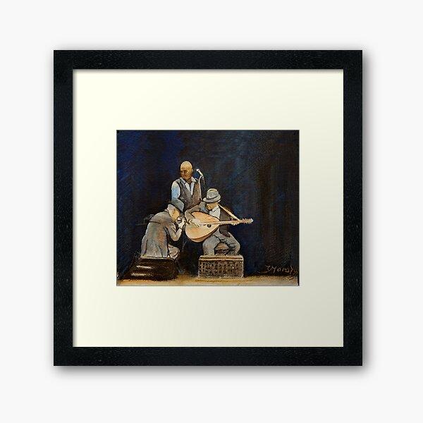 Leonard Cohen in concert with Javier Mas and Dino Soldo Framed Art Print