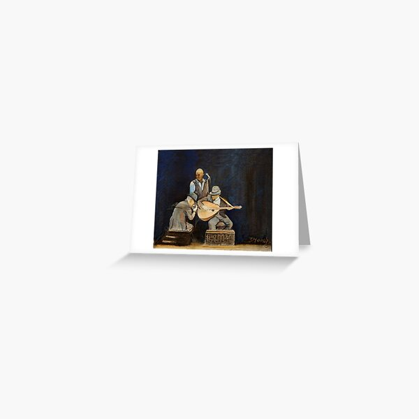 Leonard Cohen in concert with Javier Mas and Dino Soldo Greeting Card