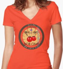 Cherry Bob Omb Fire Cracker Label Women's Fitted V-Neck T-Shirt