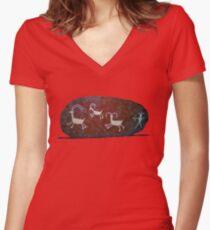 Boulder Petroglyphs Women's Fitted V-Neck T-Shirt