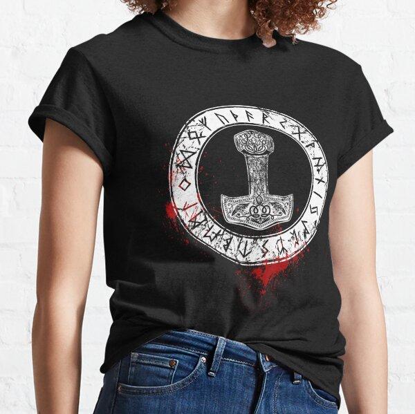 Thors Hammer and Runes Viking,Wikinger,nordisch Classic T-Shirt