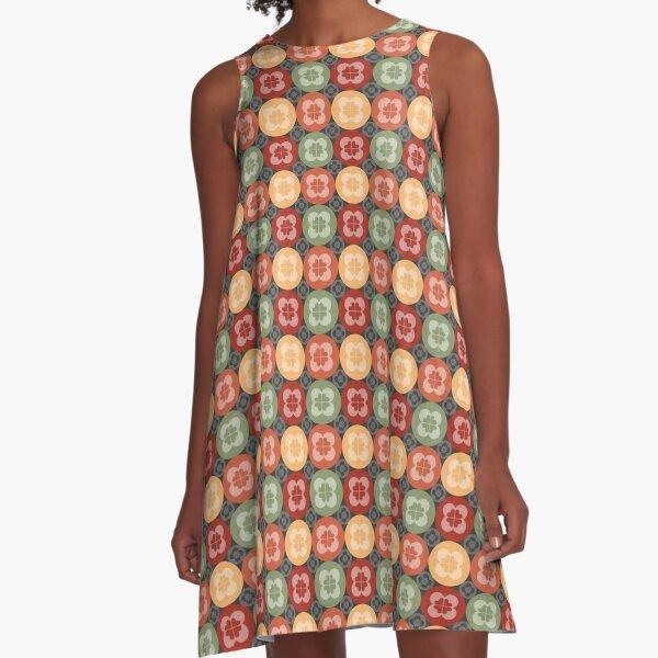 Geometric Pattern: Flower Circle: Arcadia A-Line Dress