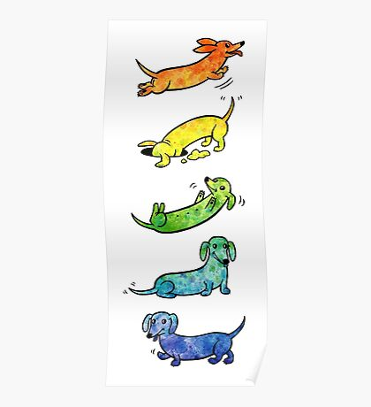 Watercolor Dachshunds Poster