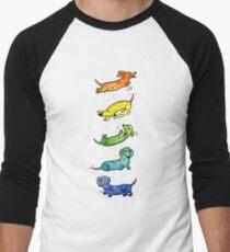 Camiseta ¾ estilo béisbol Dachshunds Acuarela
