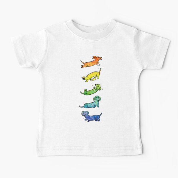 Dachshunds de acuarela Camiseta para bebés