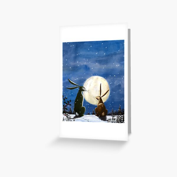 Hares and Moon Greeting Card