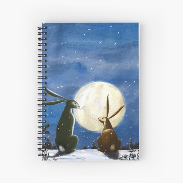 Hares and Moon Spiral Notebook