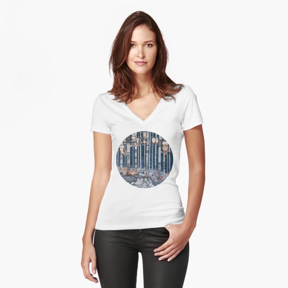 Owl Forest Camiseta entallada de cuello en V