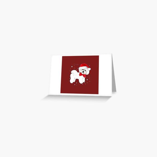 Bichon Frise Santa Hat Greeting Card