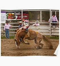Rodeo - A Redheaded Cowboy Hangs on Waiting for the Buzzer Poster