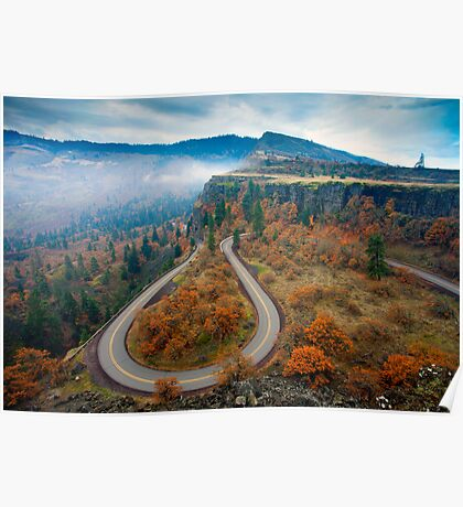 Autumn Hairpin Turn Poster